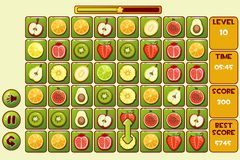 Vector interface FRUIT Match3 Games. Different fruits, game assets icons royalty free illustration