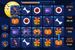 Vector interface Match3 Games, icons and buttons in halloween style, GUI Graphic Assets. Interface Match3 Games, icons and buttons in halloween style, GUI vector illustration