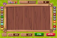 Vector Interface slot machine in wooden style for Easter holiday. Complete menu of graphical user interface and full set of. Complete menu of graphical user stock illustration