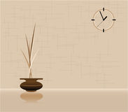 Vector interior. Illustration of the vase against the background of wall with a clock Royalty Free Stock Image
