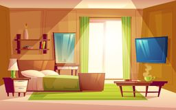 Vector interior of bedroom, living room furniture. Vector cartoon interior of cozy modern bedroom, living room with double bed, TV set, dresser, bookshelf stock illustration