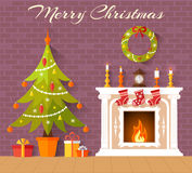 Vector interior decorated for Christmas. Christmas card with Christmas tree and fireplace. Interior decorated with the new year. Vector Royalty Free Stock Photography