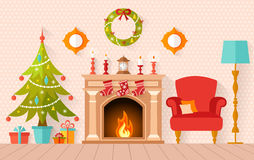 Vector interior decorated for Christmas and the new year. Christmas interior design with Christmas tree and fireplace. Living room decorated for the new year in Stock Photography