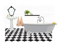 Vector interior design illustration. bathroom toilet elements. bath sink mirror towels. flooring floor tiles. Icons set of interior elements. Furniture and Stock Image