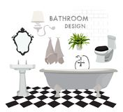 Vector interior design illustration. bathroom toilet elements. bath sink mirror towels. flooring floor tiles. Icons set of interior elements. Furniture and Royalty Free Stock Photography