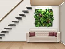 Vector interior design. Vector illustration of interior design with a vertical garden, sofa, and modern staircase. Eco-minimalist style Stock Photos