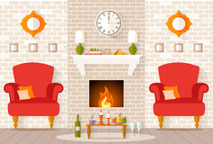 Vector interior with a fireplace and a festive dinner for two. Stock Photos