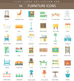 Vector interior Furniture color flat icon set. Elegant style design. Stock Images