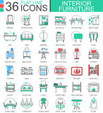 Vector interior Furniture flat line outline icons for apps and web design. Furniture collection icons. Stock Photography