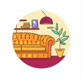 Vector interior with furniture . A living room icon Royalty Free Stock Photo