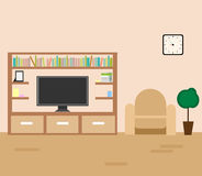 Vector interior of a living room. Living room interior with furniture and television vector illustration