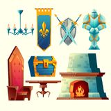 Vector interior objects for fantasy game design. Vector set of fantasy items, fairy tale game design objects for interior isolated on white background. Knight in Stock Images