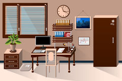 Vector interior office room in classic style Royalty Free Stock Images