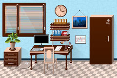 Vector interior office room in dark wooden style Royalty Free Stock Photography