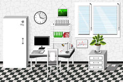 Vector interior office room in white style Royalty Free Stock Photo