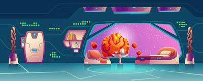 Vector interior of room on space station royalty free illustration