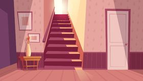Free Vector Interior With Staircase, Stairs In House Royalty Free Stock Photos - 118810418