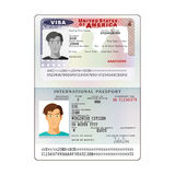 Vector internationaal open paspoort met het visum van de V.S. vector illustratie