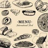 Vector internationaal voedselmenu Fusiekeuken carte Uitstekende hand getrokken snelle maaltijdinzameling Fast-food restaurantpict Stock Illustratie