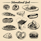 Vector internationaal voedselmenu Fusiekeuken carte Uitstekende hand getrokken snelle maaltijdinzameling Fast-food restaurantpict Royalty-vrije Illustratie