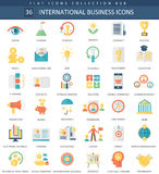Vector International business color flat icon set. Elegant style design International business web icon. Stock Photography