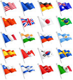 Vector International Flags Set. A set composed by the flags of 20 of the most important countries around the world, including the European Union flag Royalty Free Stock Photo