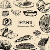 Vector international food menu.Fusion cuisine carte.Vintage hand drawn quick meals collection.Fast-food restaurant icons Royalty Free Stock Image