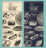 Vector international food menu.Fusion cuisine carte.Vintage hand drawn quick meals collection.Fast-food restaurant icons Stock Image