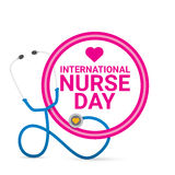 Vector international nurse day vector label. With stethoscope isolated on white background. vector nurses icon royalty free illustration