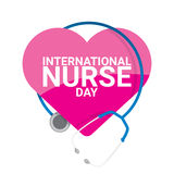 Vector international nurse day vector label. With stethoscope isolated on white background. vector nurses icon stock illustration