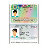 Vector international open passport with Hungary visa Royalty Free Stock Images