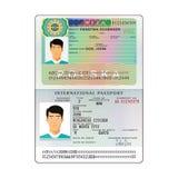 Vector international open passport with Poland visa.  royalty free illustration
