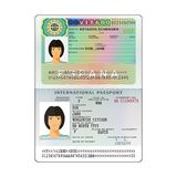 Vector international open passport with Spain visa.  vector illustration