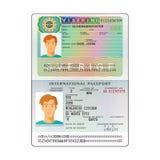 Vector international open passport with Sweden visa.  royalty free illustration