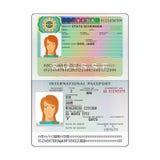 Vector international open passport with Switzerland visa Stock Photography