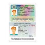 Vector international open passport with United Kingdom visa.  vector illustration