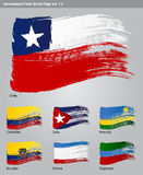 Vector International Paint Brush Flags Stock Photos