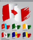 Vector International Paint Brush Flags Stock Image