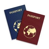 Vector international passport with globe. Royalty Free Stock Image