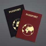 Vector international passport with globe Stock Photo