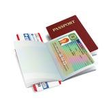 Vector international passport with Iceland visa sticker Stock Photos
