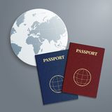 Vector international passports with globe. Royalty Free Stock Photography