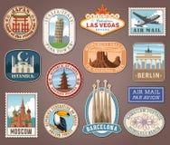 Vector international tourism landmark labels Stock Photography