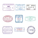 Vector international travel visa stamps for passport set Royalty Free Stock Image