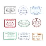 Vector international travel visa stamps set Stock Images