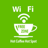 Vector internet cafe green poster. Stock Image - green banner with a picture of a cup of coffee and WiFi Stock Photos