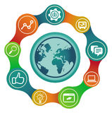Vector internet concept with globe. And social media icons Stock Images