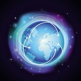 Vector internet concept - glowing globe. Abstract background in blue color Stock Images