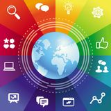 Vector internet concept with rainbow background Stock Photo
