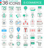 Vector internet E-commerce modern color flat line outline icons for apps and web design. Royalty Free Stock Photos